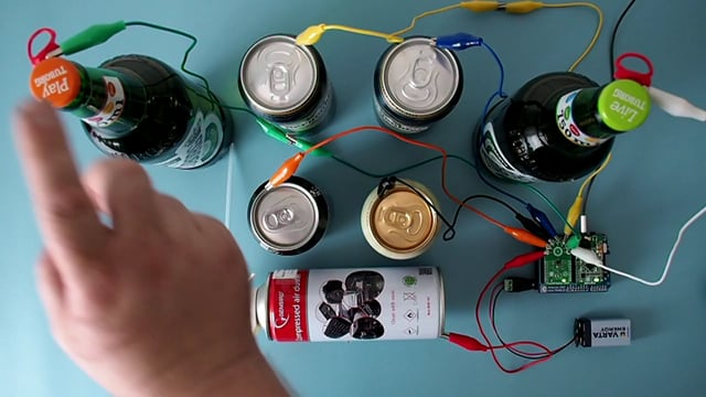 Bottles, cans and TouchClamp click make up a drum kit
