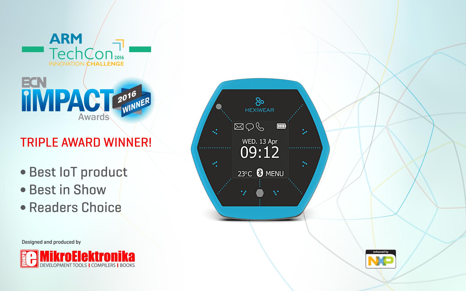 Hexiwear dominates ARM TechCon 2016 Innovation challenge winning three awards!