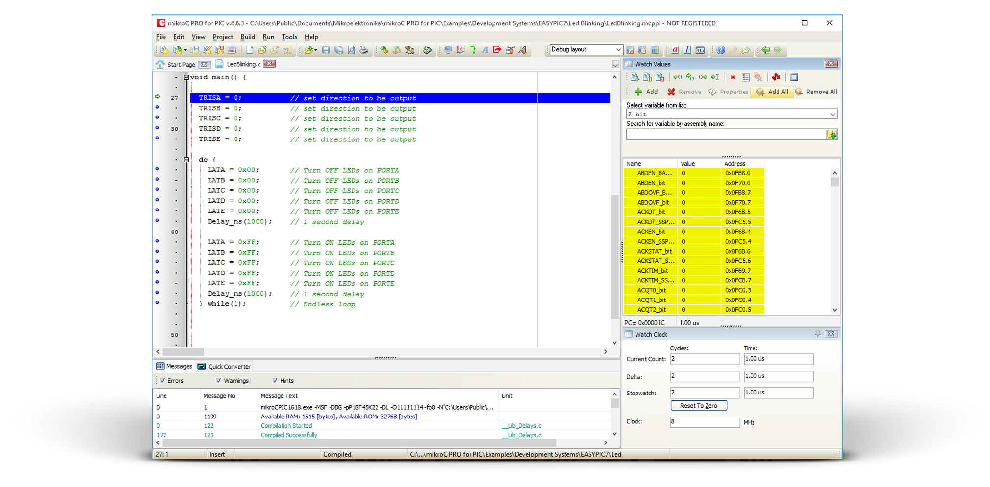 mikroC Debugger Window