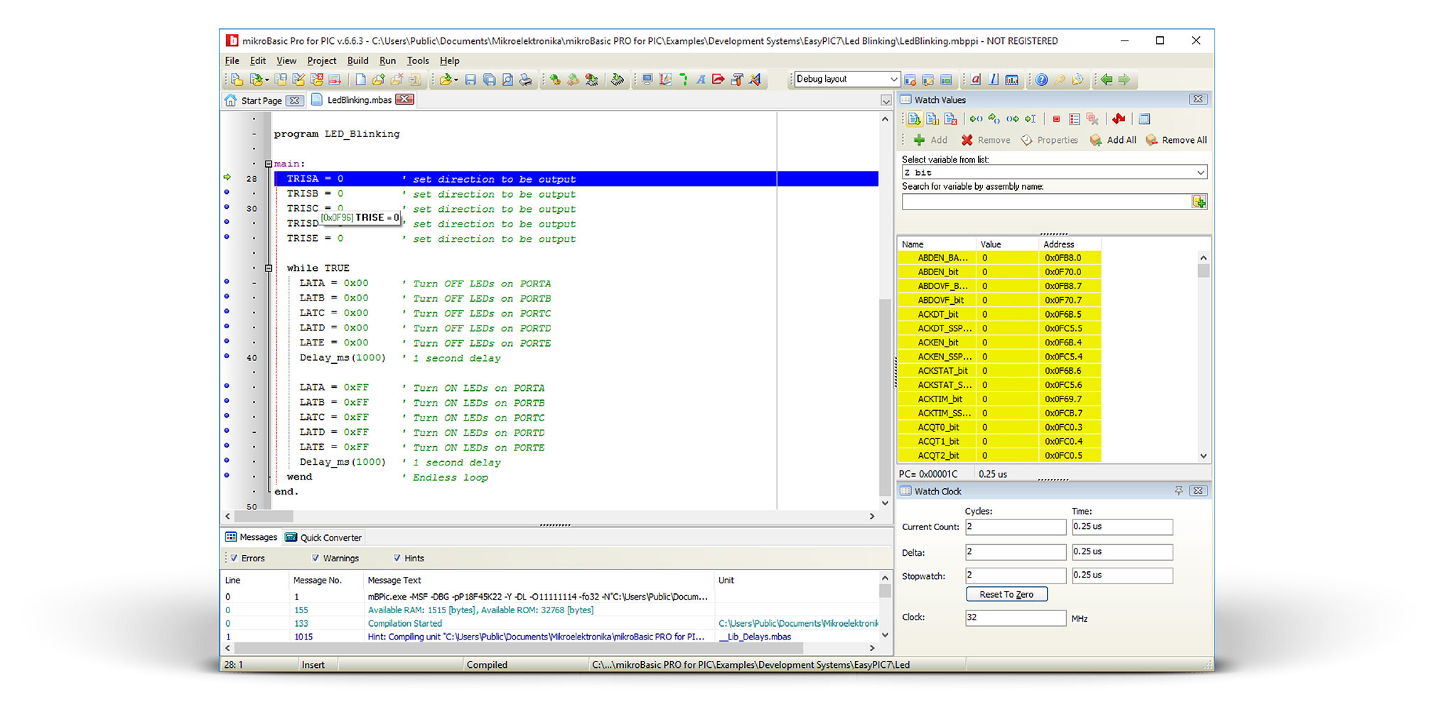 mikroBasic Debugger Window