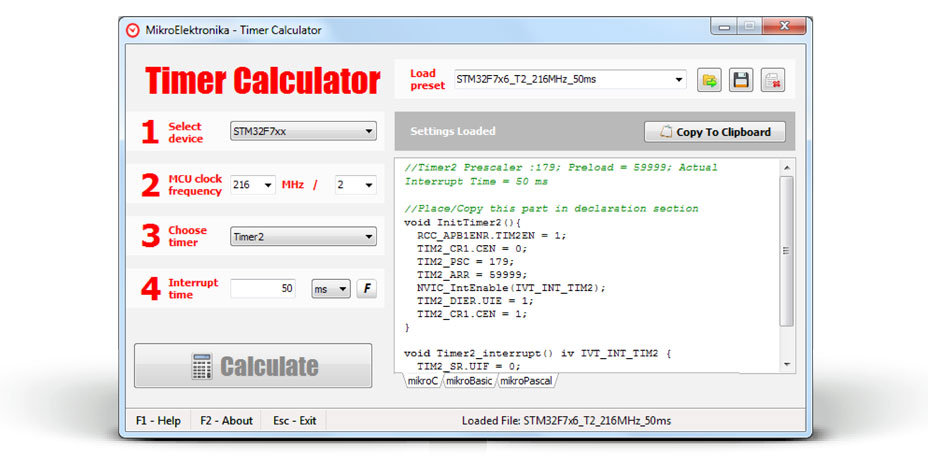 MikroElektronika Timer Calculator Software