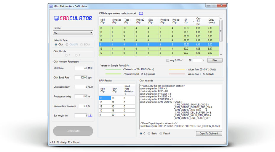 MikroElektronika CAN Calculator Software