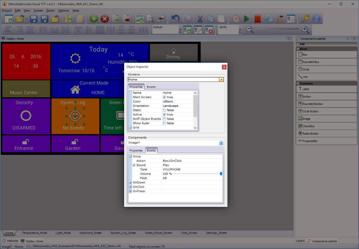 Visual TFT manage screens and components