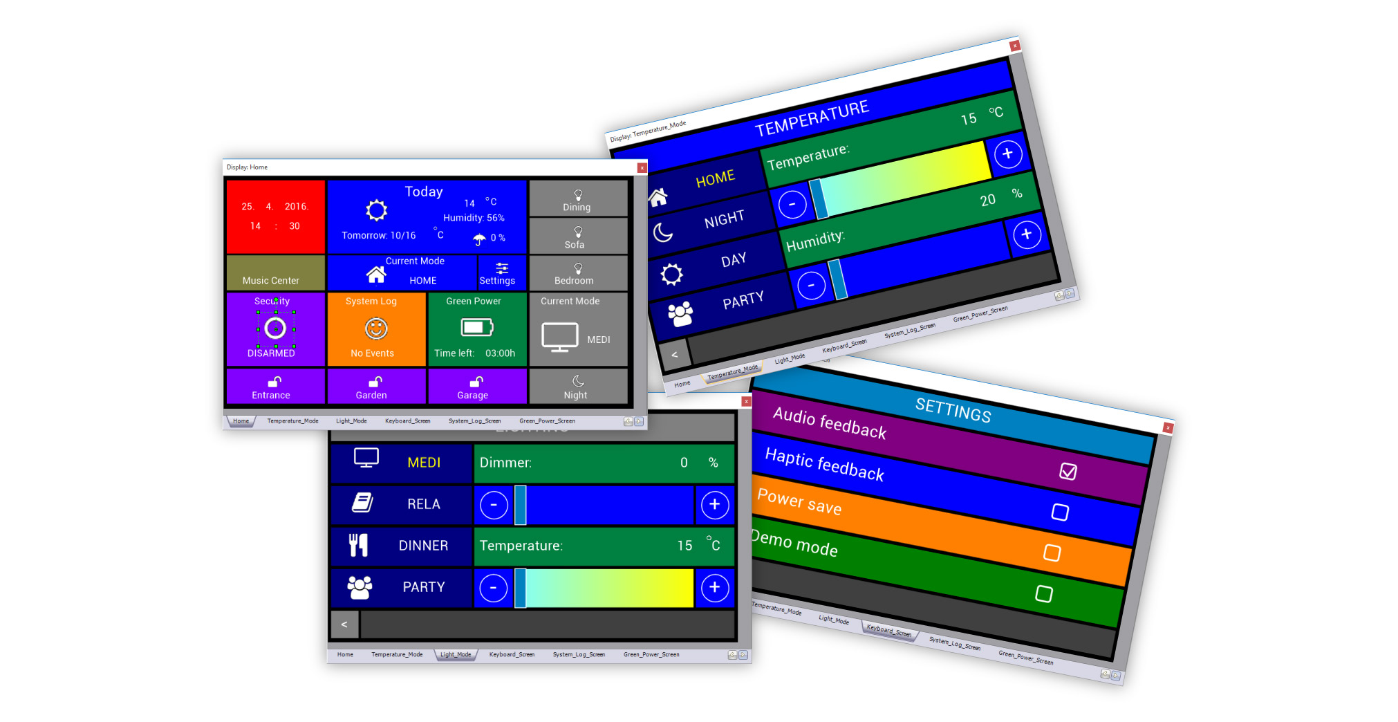 Visual TFT multiscreen interfaces