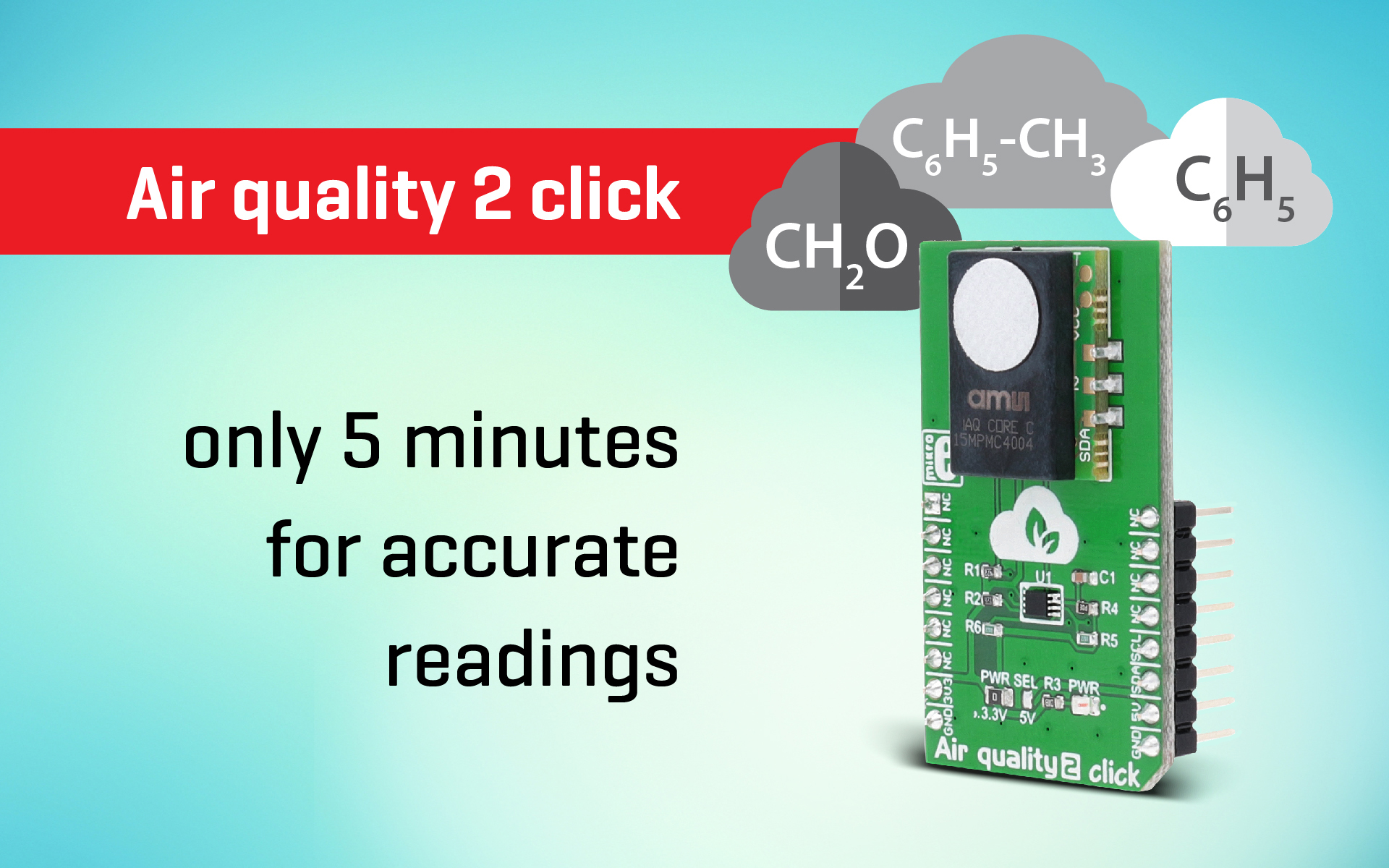Only 5 minutes for accurate readings - Air quality 2 click