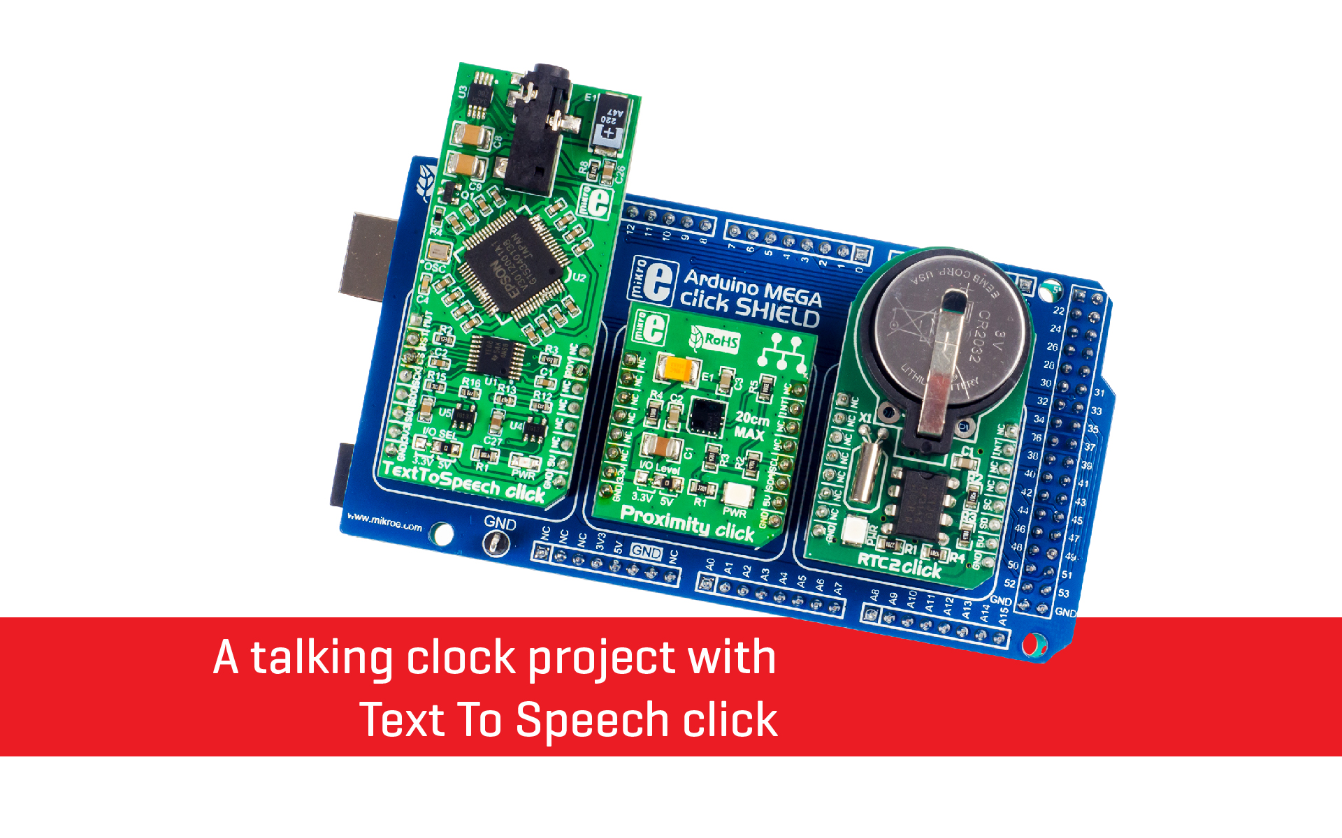 A talking clock project with Text To Speech click