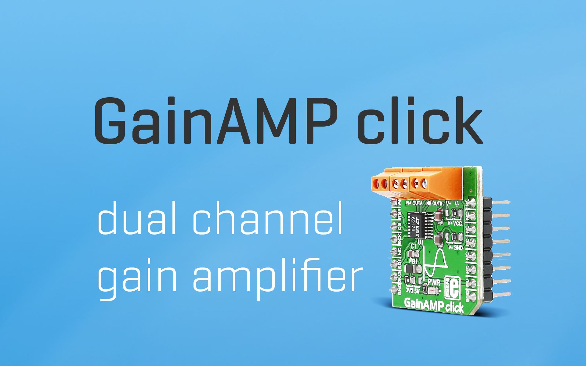 GainAMP click — dual channel gain amplifier