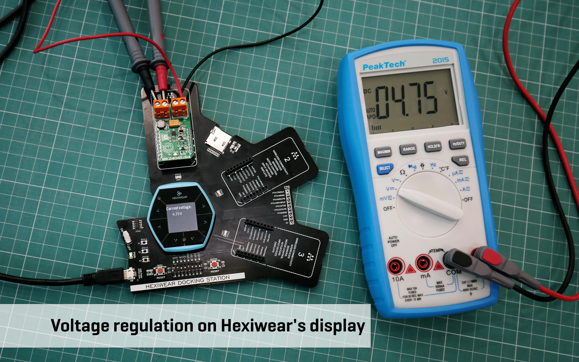 MIC24045 click and Hexiwear - voltage regulation on a display