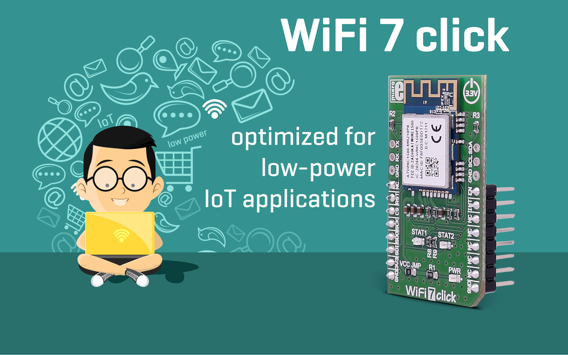 WiFi 7 click — Optimized for low-power IoT applications