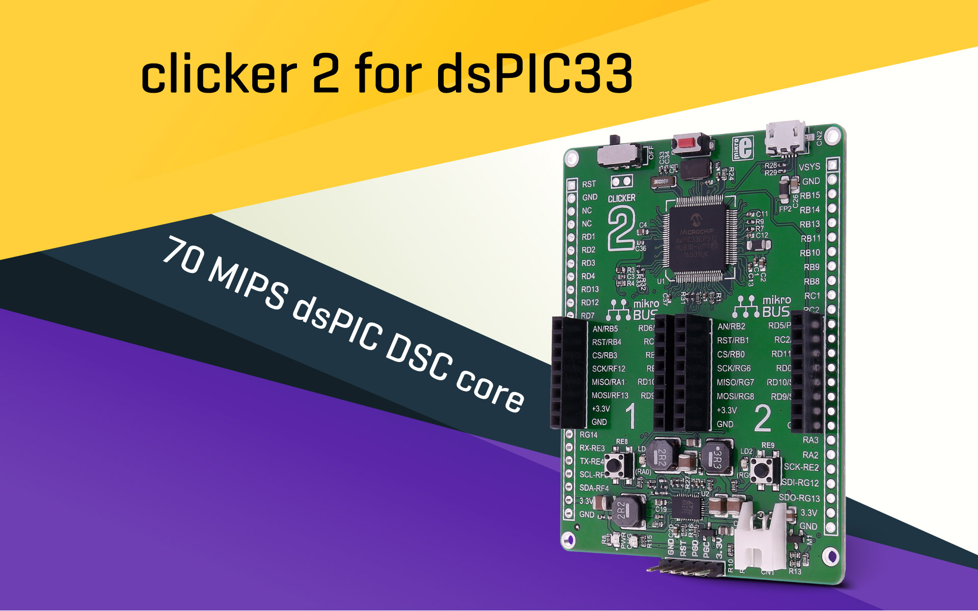 clicker 2 for dsPIC33 – a pocket size development board you need