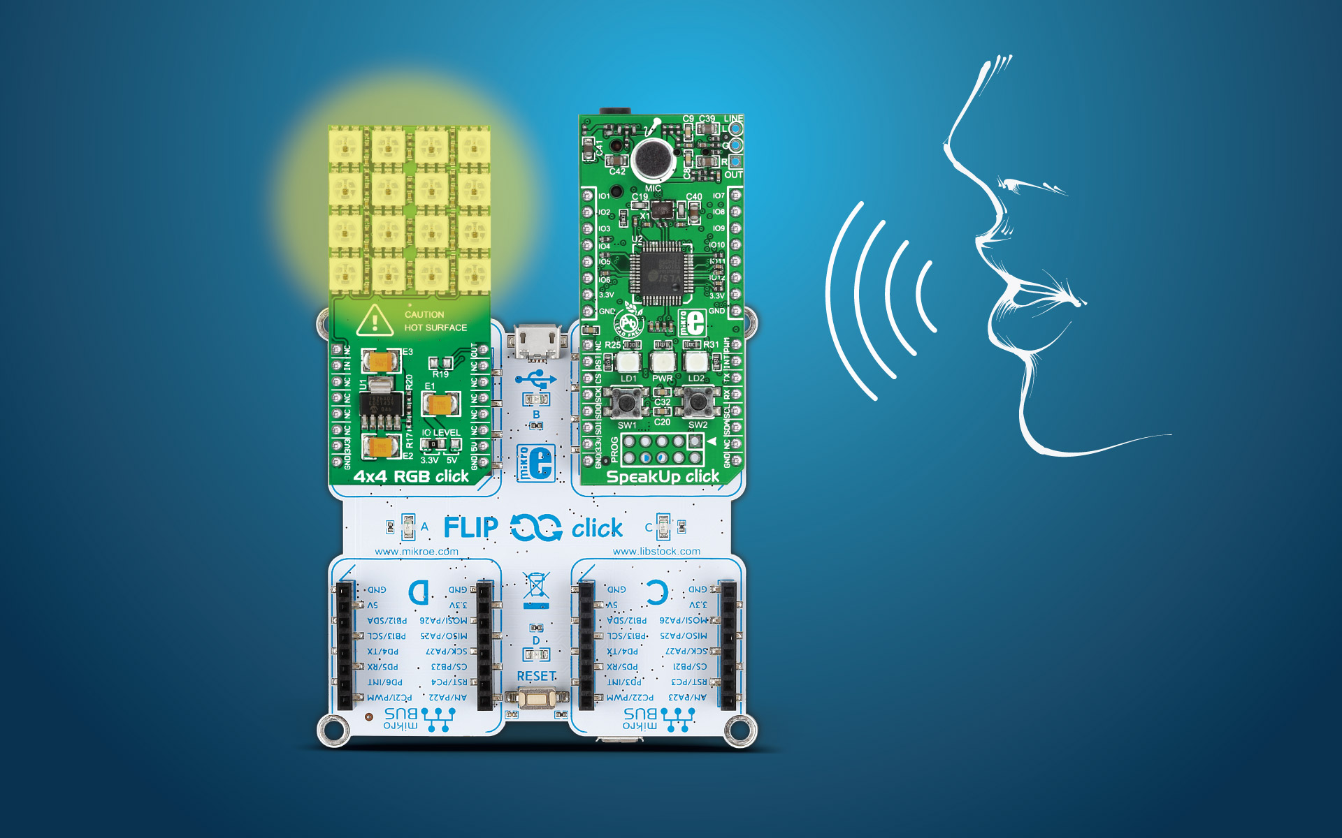 Voice controlled LEDs – Flip&click with SpeakUp click project