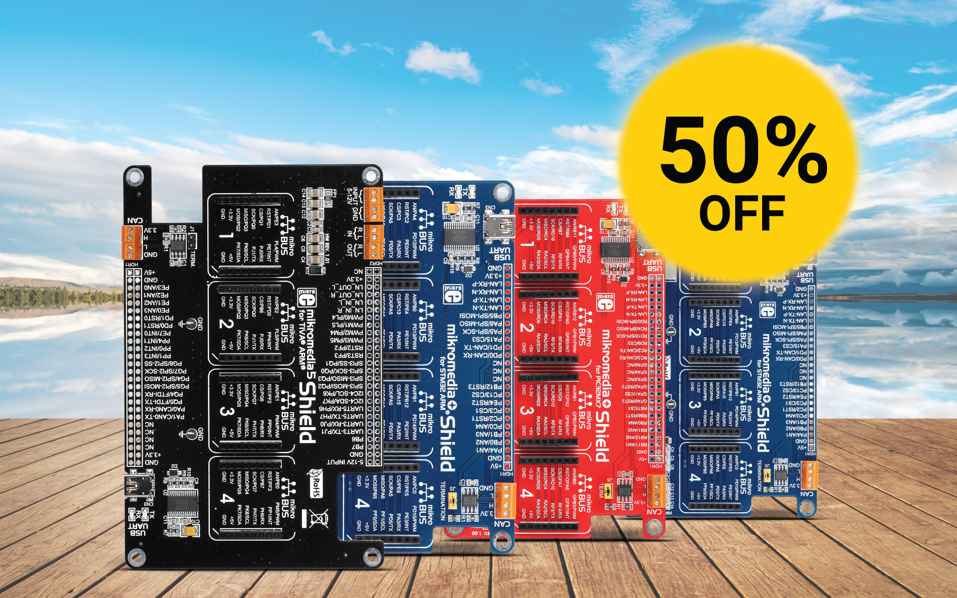 Special 50% discount on mikromedia Shields
