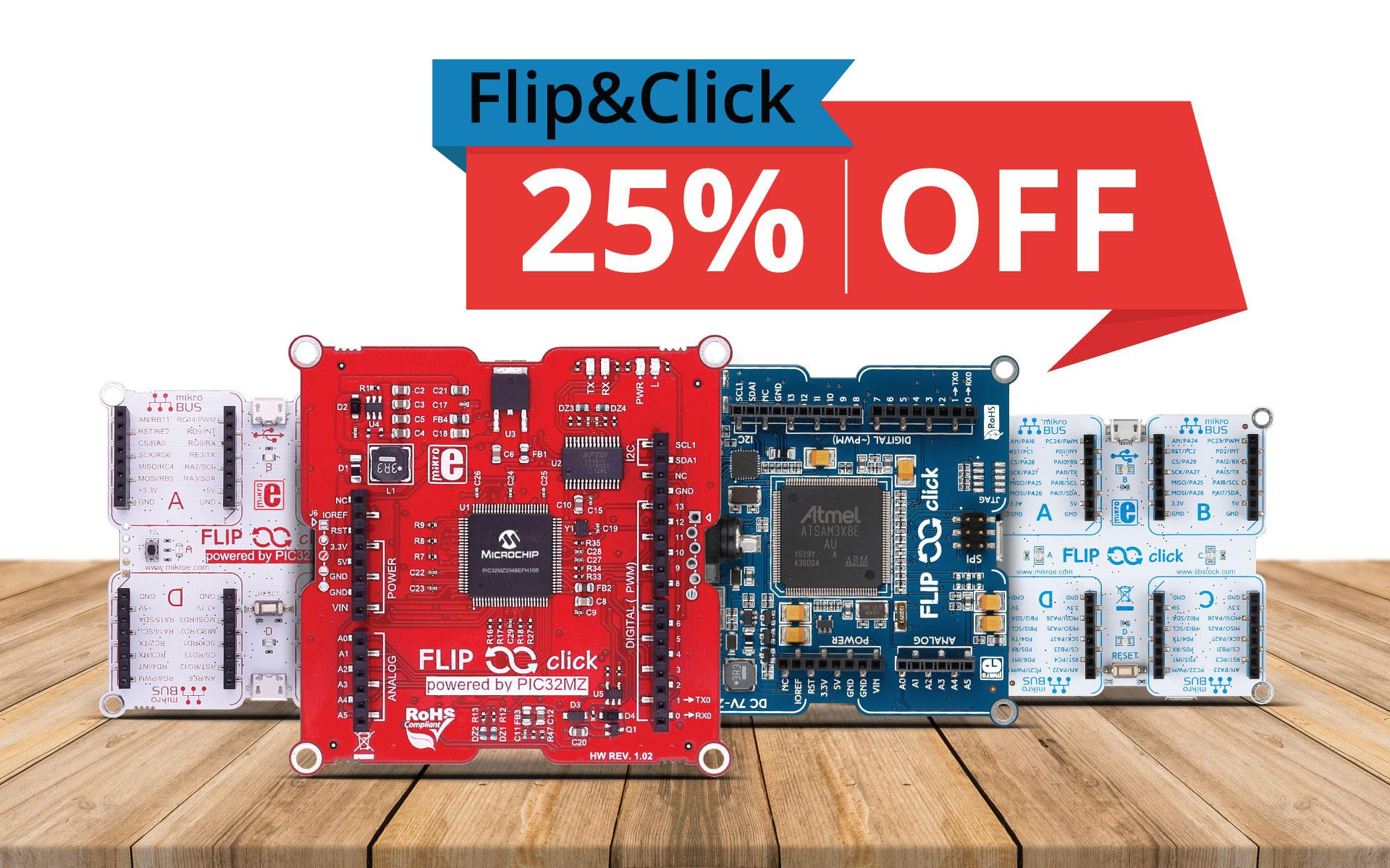 click boards™ + Flip&Click = 25% discount