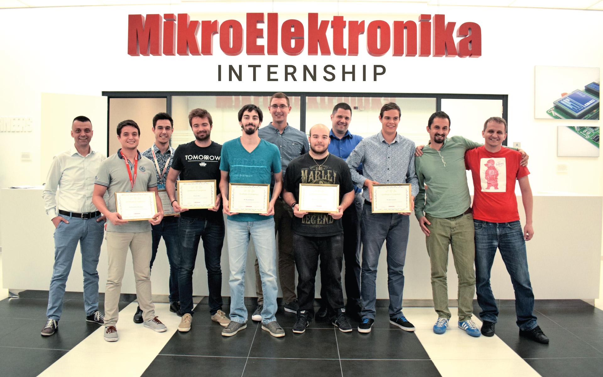 What happens at the end of a summer internship at MikroElektronika?