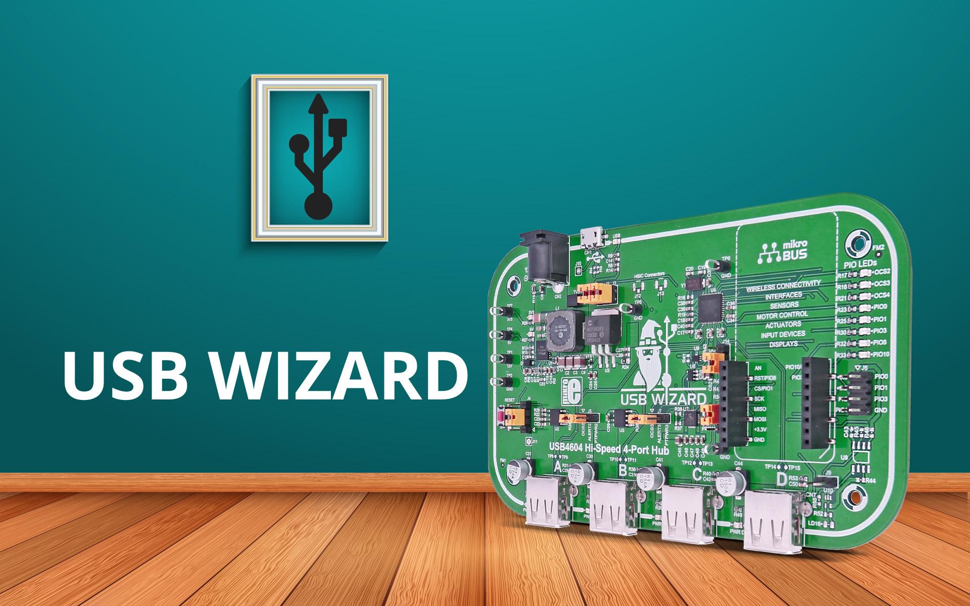 USB Wizard - USB hub with a mikroBUS™ socket