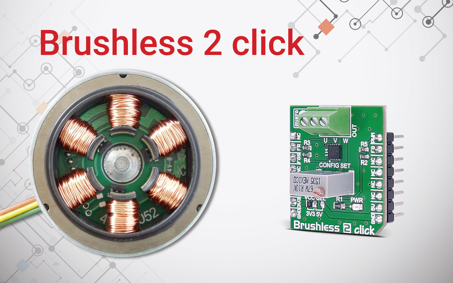 Brushless 2 click - no sparking, no electrical noise, no brushes to wear out