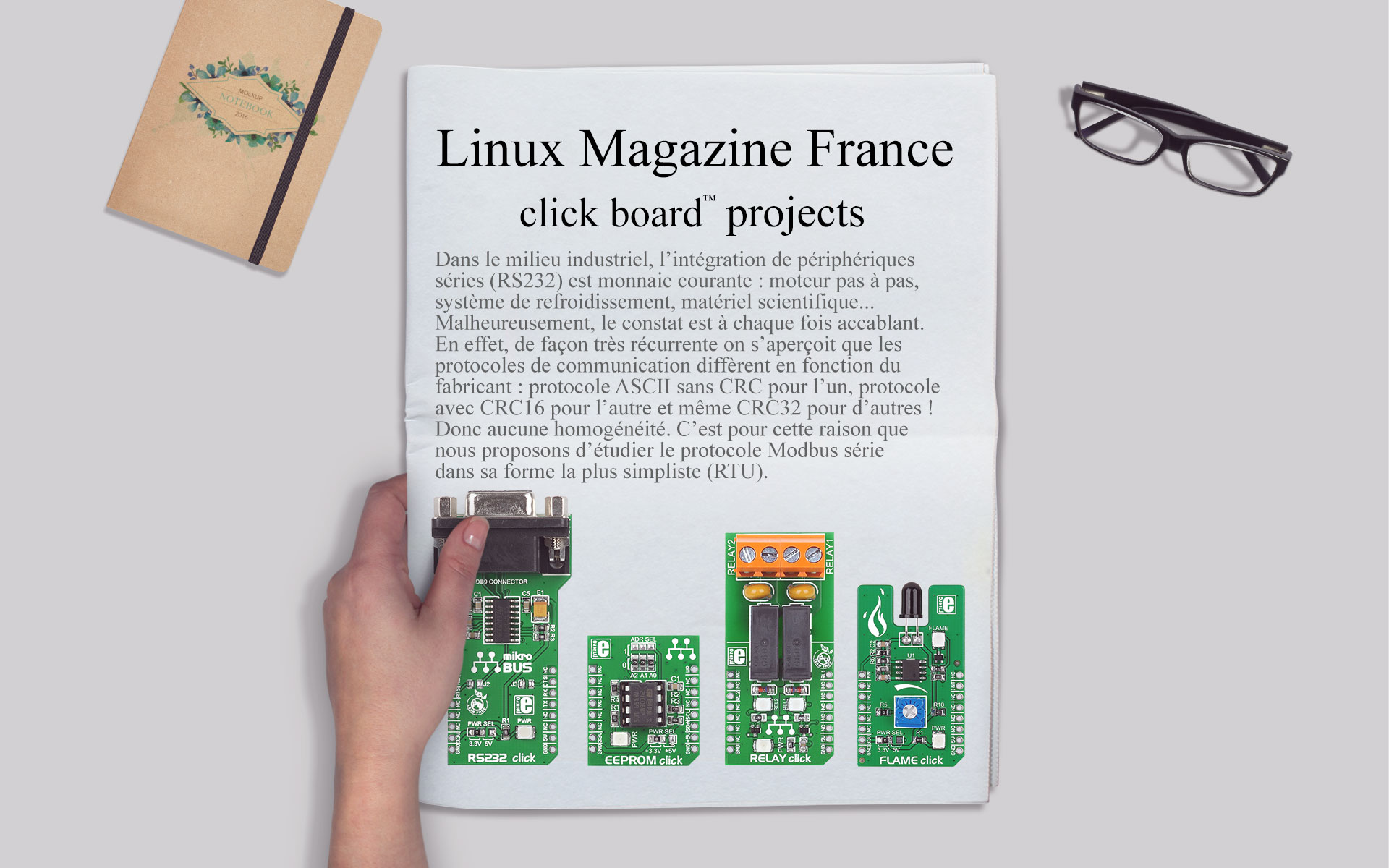 We are popular in France - article about click boards™ in Linux Magazine France