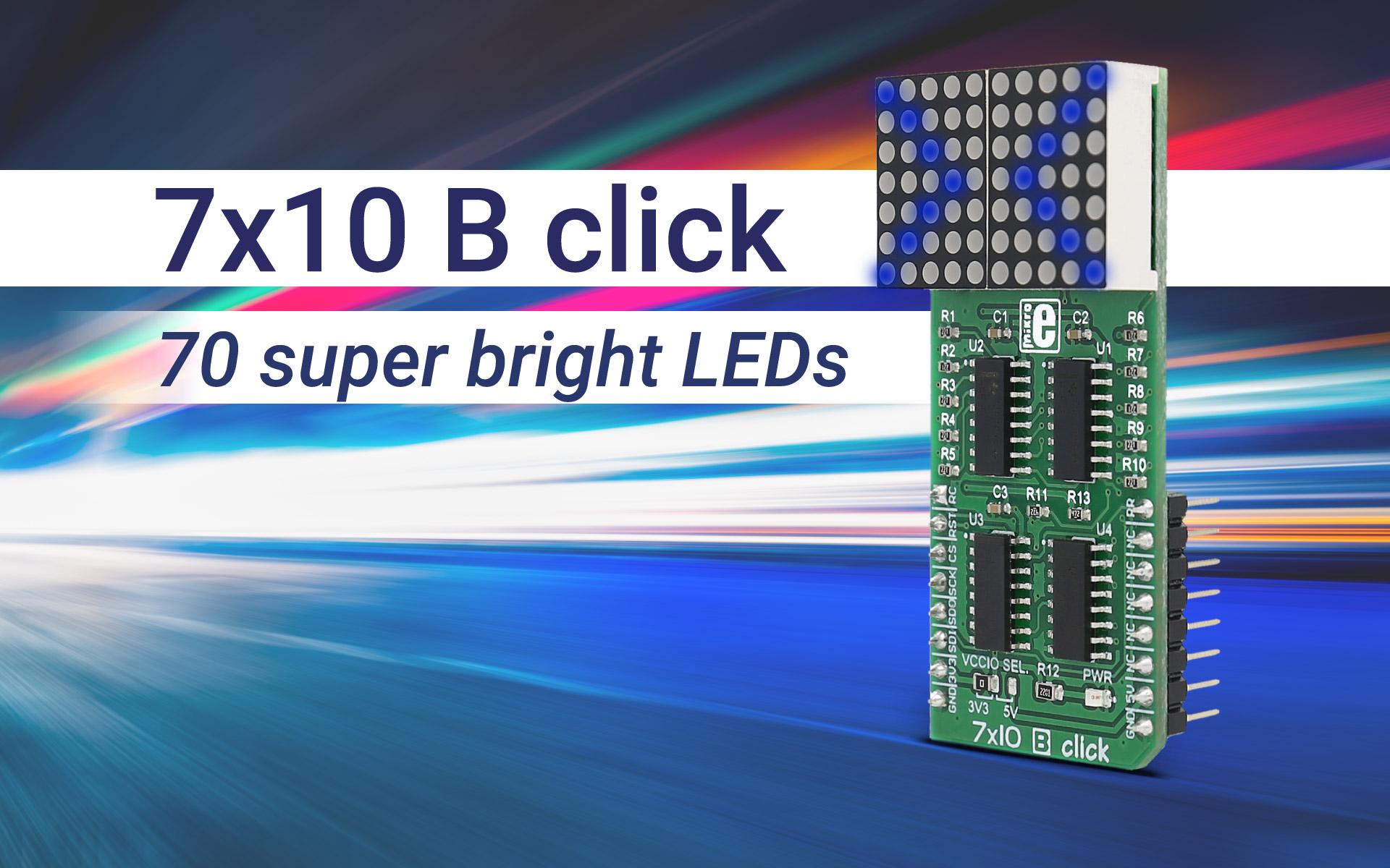7x10 B click - deep blue LED matrix