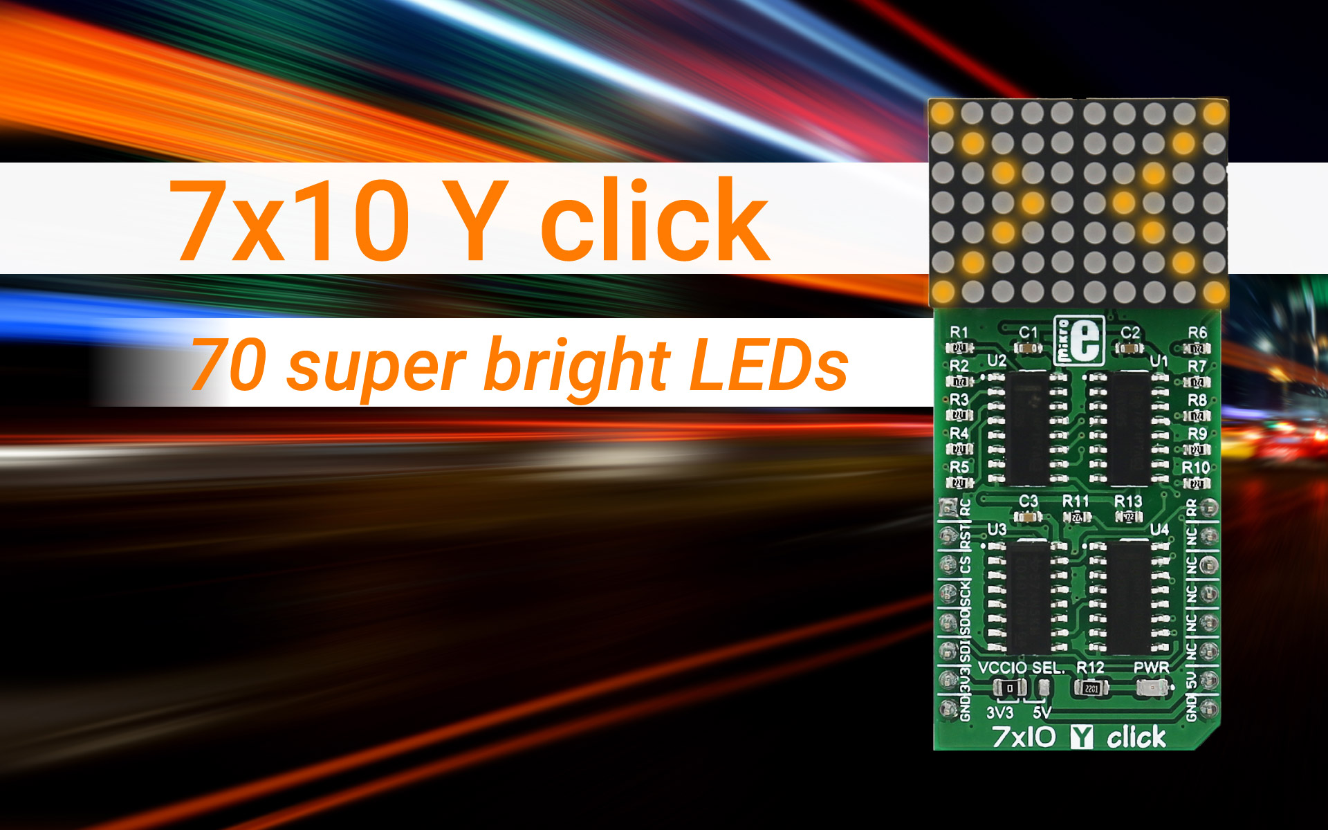 7x10 Y click - 70 yellow LEDs to brighten up your applications