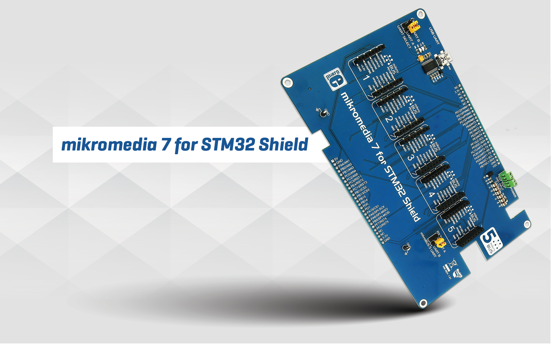 mikromedia 7 for STM32 Shield - five mikroBUS™ sockets